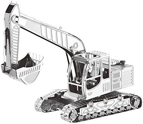 Playtastic Metall Modellbausatz: 3D-Bausatz Bagger aus Metall im Maßstab 1:50, 41-teilig (3D-Metal-Puzzle)