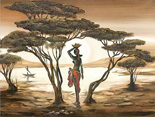 N\A Kit de pintura de diamantes 5D con diamantes de imitación para bordado de punto de cruz, arte de mujer africana, paisaje bosque, 30 x 40 cm