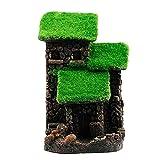 Mengmengda Acuario resina casa decoración pecera roca cueva escondites con musgo realista para peces paisajismo accesorios 3 tamaños resina casa decoración