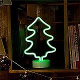 EXQULEG Letrero de neón con zócalo, luz de neón para dormitorio, luces LED alimentadas por batería o USB, luces nocturnas para habitación de los niños, decoración de Navidad (árbol de Navidad)