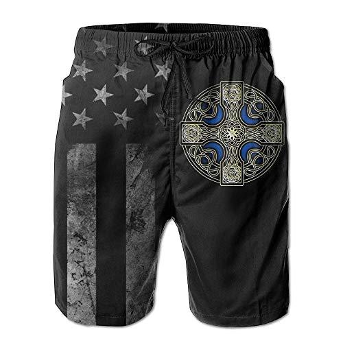Celtic Cross with American Flag Men's Swim Trunks Beach Short Board Shorts White
