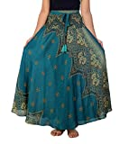 Lannaclothesdesign Women's 37' Long Maxi Skirt Bohemian Gypsy Hippie Style Clothing (US 37 INC S-M, Teal Peacock Flower)