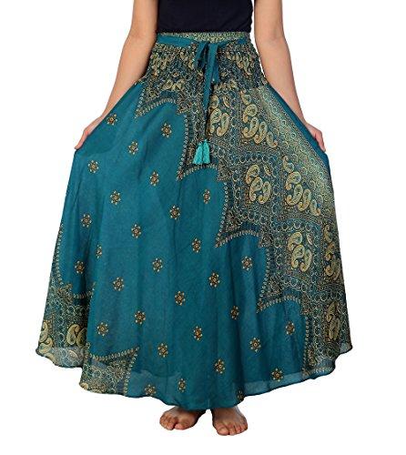 "Lannaclothesdesign Women's 37"" Long Maxi Skirt Bohemian Gypsy Hippie Style Clothing (US 37 INC L-XL, Teal Peacock Flower)"