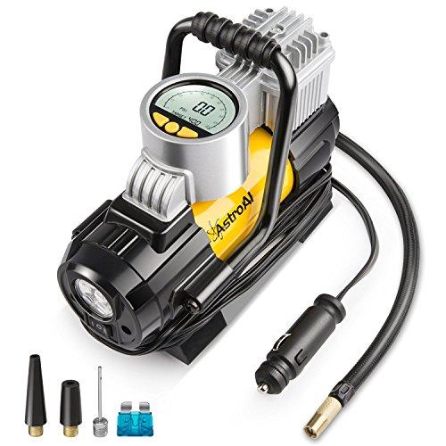 AstroAI Luftkompressor, Geschenke für Männer, Elektrische Luftpumpe Mini Kompressor Tragbare Auto Luftpumpe 12V DC Kompressor mit LCD-Display für Auto Fahrrad und Andere Automobile