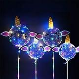 Herefun LED Leuchtende Luftballons, 4 Stück Helium Ballons, Einhorn Luftballons LED-Ballons mit Halterungsstäben, 16 Zoll Leucht Luftballons Perfekt für Hochzeit Party Geburtstage Feierlichkeiten