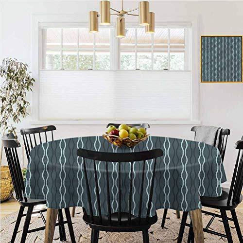 Ronde tafelkleed, Home Decoration Tafelkleed, Blauw, Zee Golven Thema Zig Zag Lijnen Decoratie voor eettafels, buffet feesten en camping