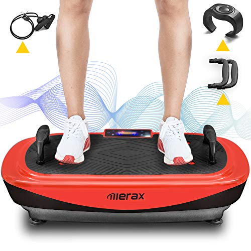 Merax 4D Vibrationsplatte Profi Vibrationsplatte, Leistungsstark mit 3 leisen Motoren,LED-Display,Vibration Fitness Plattform mit Schlaufenbändern, Push-up-Griffe, Heimfitnessgeräte (Schwarz + Rot)