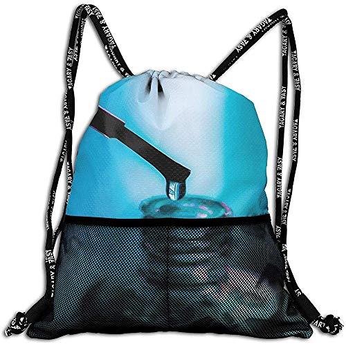 Not applicable Nagellack-Flaschen-blauer Hintergrund-personalisierte Zugschnur-Rucksack-Maschen-Tasche Unisex für Reise-Eignung
