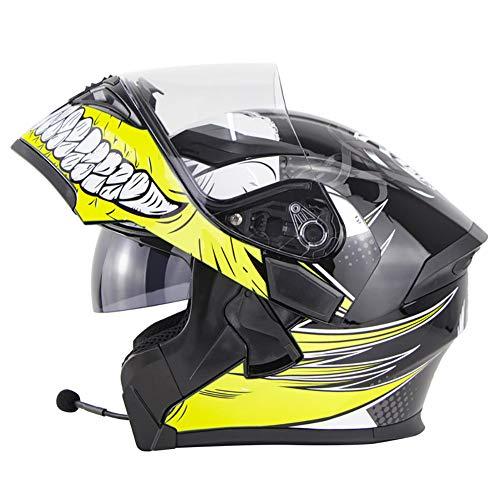 Casco Moto Modular con Bluetooth Headset, Cascos de Motocicleta con Doble Anti Niebla Visera, ECE Homologado Prueba de Viento para Adultos Hombres Mujeres 55-64CM