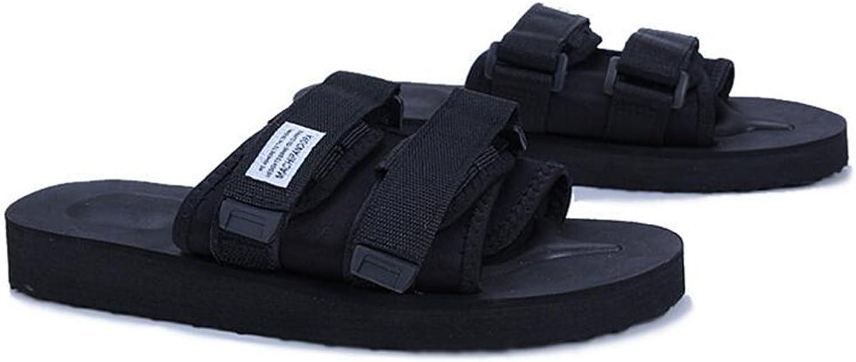 QIDI Sandals Summer Rubber Black Non-slip Wear-resistant Outdoor Slippers shoes (Size   EU43 UK9.5)