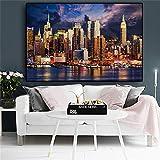 Sunset Cloud New York City Manhattan Building Posters Wall Art Pictures Pintura Arte de la pared para la sala de estar Decoración del hogar 70x100cm Sin marco