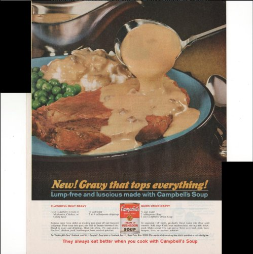 Campbell's Condensed Cream Of Mushroom Soup Gravy That Tops Everything Recipes 1965 Vintage Antique Advertisement