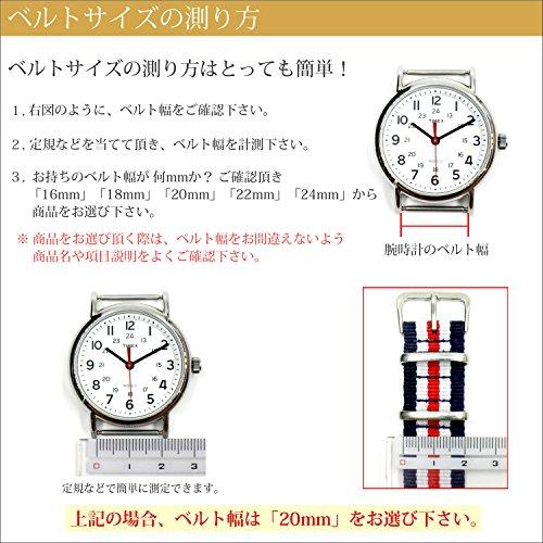 『【 気分に合わせて簡単交換 】 (ネイビー/グリーン 18mm) NATO タイプ ナイロン ベルト ストラップ 腕時計 2PiS 【 交換マニュアル付 】』の6枚目の画像