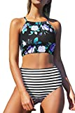 SEASELFIE Women's Two Piece High Neck Bikinis Swimsuits Modest Bathing Suits for Teens (Stripes, L)