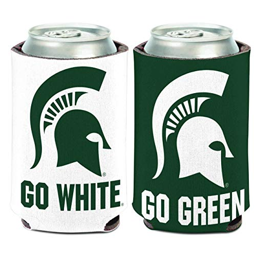 WinCraft NCAA Michigan State Spartans Go Green/White 1 Pack 12 oz. 2-Sided Can Cooler