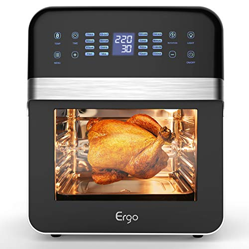 quiet air fryer - Air Fryer Oven,12.2QT LED Digital Large Toaster Oven,Convection Roaster with Rotisserie & Dehydrator, Ultra Quiet, for Healthy Oil Free & Low Fat Cooking, 16-in-1 Preset Programs, 1600W( Black)