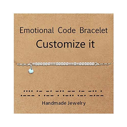 MJARTORIA Morse-Code Armband Damen Armkette Silber Farbe Armkette Fußkettchen Freundschaftsarmbänder Benutzerdefiniert mit Geburtstag Monat Stein