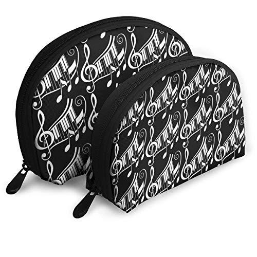wit zwart toetsenbord piano schelpdieren cosmetische tas shell vorm draagbare opslag zakken luxe toilettas