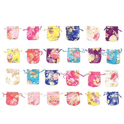NUOBESTY - Bolsa de regalo con cordón de seda chino bordado, 24 piezas