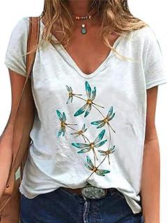 Kewing T-Shirt Divertente Donna Stampa Libellula Camicia Grafica Benedetta T-Shirt Divertente ispiratrice T-Shirt Manica C...