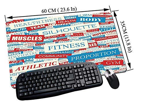 Gaming und Office Mauspad,Fitness, Collage of Words Bewegung Gesundheit Ernährung Körperpflege Thema Dekorativ, Himmelblau Weiß Rot,mit vernähten Rändern und rutschfester unterseite60x35cm