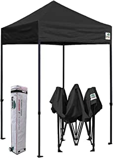 Eurmax 5x5 Ez Pop up Canopy Outdoor Heavy Duty Instant Tent Pop-up Canopies Sun Shelter with Deluxe Wheeled Carry Bag (Black)