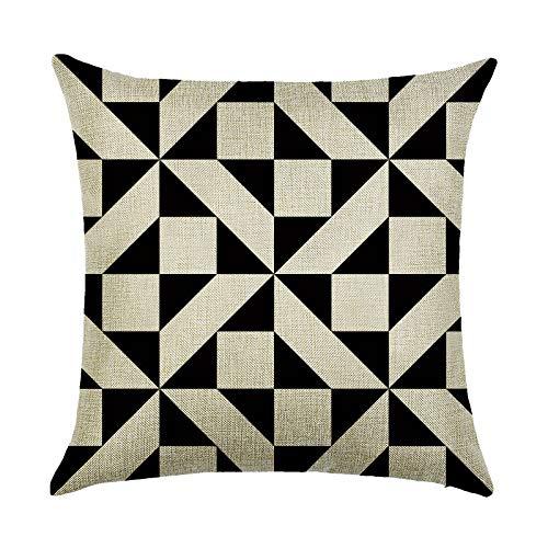 JUNGEN Funda de cojín geométrica Serie Beige Negro Funda de Almohada Lino imitación Funda de cojín Cuadrada para Coche Sofá Cama Salon Oficina Textiles para el hogar 45x45 cm (Negro 2)