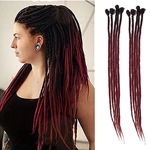 Dsoar 24inch Ombre Dreadlocks Extensions for Women/Men 10 Strands Synthetic Dreads Handmade Crochet Braiding Hair Jamaica Reggae Locs(Ombre Black and Burgundy)