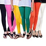 ZAKOD Women's Cotton Lycra Churidar Leggings for Summer (6589552, Multicolour, Free Size) Combo Pack of 6
