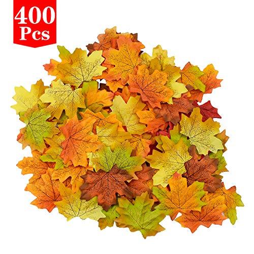 FEIGO Ahornblätter Dekoration 400 Stück, 8 Farbe Künstliche Herbstblätter Kunstblume Herbstlaub für Zuhause Hochzeit Weihnachtszeiten Party Herbstdeko (8 x 7cm)