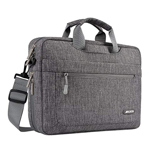 MOSISO Laptop Shoulder Bag Compatible with 17-17.3 inch Dell HP Acer Samsung Sony Chromebook Computer, Polyester Messenger Carrying Briefcase Sleeve with Adjustable Depth at Bottom, Gray
