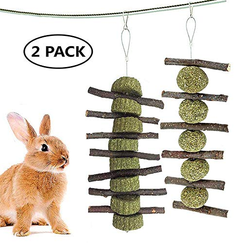 Ewolee Kleintierspielzeug, Pet Snack Spielzeug mit Gras Kuchen, Apfelholz Kauen Stöcke Natürliche Graskugel Kaninchen Hamster Meerschweinchen Apfel Holz Molar-Stick