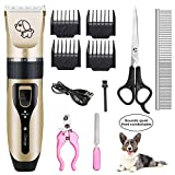 HANGFEIBAC Dog Clippers, Low Noise Rechargeable Dog Trimmer Cordless, Pet Hair Grooming Clippers Kit with Comb, Guides, Scissors, Nail Kits for Dogs Cats Pets