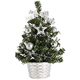 Wocst 8 Inch Mini Christmas Tree Tabletop Pine Tree Decor Christmas Tree ToppersSmall Artificial Christmas Tree for Desk Tops Centerpieces Christmas Home Party Decoration (Silver)