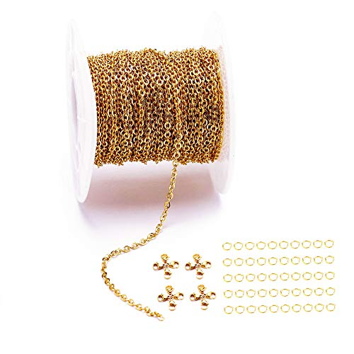 33 Feet 18K Gold Stainless Steel Flat Cross Chains Link Spool Bulk with 20 Lobster Clasps and 50 Jump Rings for Pendant Necklace Jewelry DIY Making (Chain Width 1mm+20pcs Clasps+50 Rings, Gold)