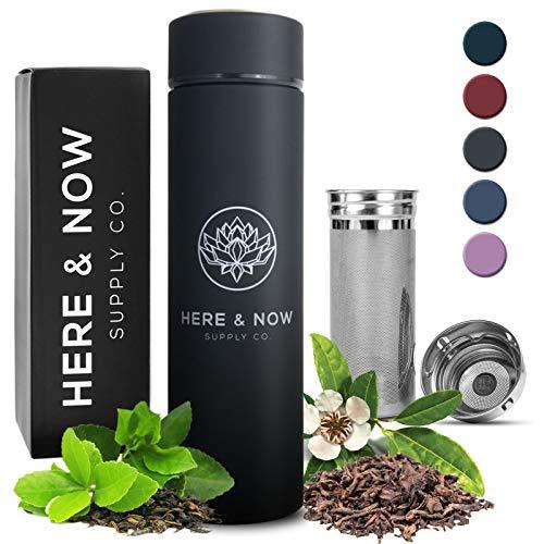 Here & Now Tea Infuser Bottle | Water Bottle With Tea Infuser Set | Stainless Steel Tea Infuser Travel Mug | Double Walled Tea Bottle | Loose Leaf Tea Infusers | Tea Bottle With Infusers (Zen Black)
