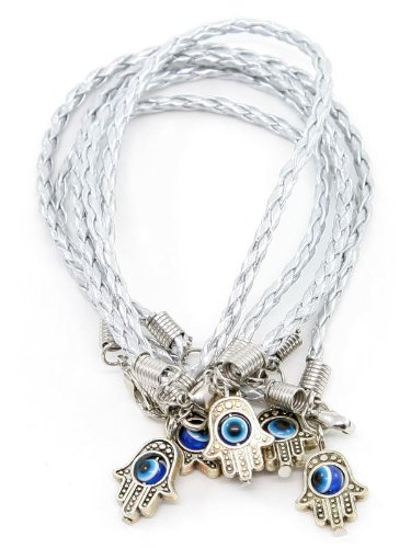 Lote - 5 pulseras de cadena de plata con diseño de la mano de Hamsa 'Evil Eye'