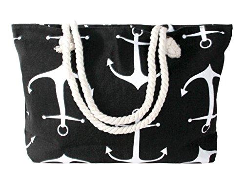 Handtasche Strandtasche Shopper Damentasche 55 x 36 cm schwarz Maritim-Look Anker mit Reißverschluss von Alsino