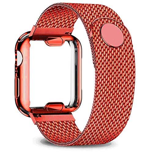 GZMYDF Carcasa + correa para Apple Watch de 40 mm, 44 mm, 38 mm, 42 mm, correa de metal de acero inoxidable serie 6, 5, 4, 3 2 SE, (color de la correa: rojo, ancho de la correa: 40 mm, serie 5 4)