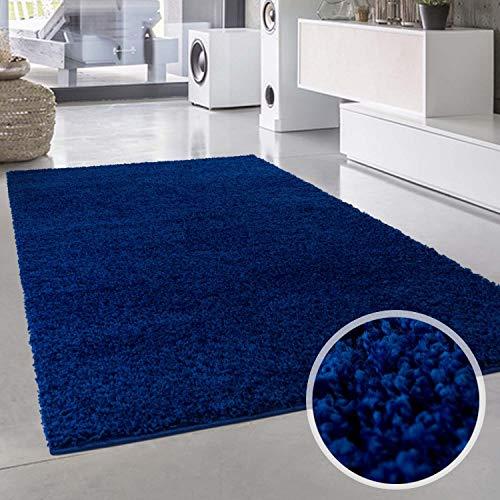 ayshaggy Shaggy Teppich Hochflor Langflor Einfarbig Uni Blau Weich Flauschig Wohnzimmer, Größe: Läufer 60 x 110 cm