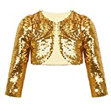 TiaoBug Girls Beaded Lace Bolero Jacket Shrug Show Catwalk Cape One Button Closure Cardigan Sweater Church Dress Cover up Sequins Gold 9-10