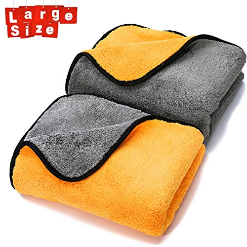 MATCC Mikrofasertücher Auto Trockentücher Poliertücher(90 * 60 cm) zur Professionellen Autopflege Ultraweich für Perfekte Auto Lackpflege mit Unfassbarer Aufnahmekapazität Seidenkante - Grau Orange