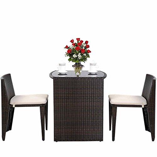 COSTWAY 3tlg. Rattanmöbel Polyrattan, Gartenmöbel Gartenlounge Gartengarnitur Sitzgruppe Lounge Set Sitzgarnitur Gartenset, inkl. Glasplatte und Sitzkissen