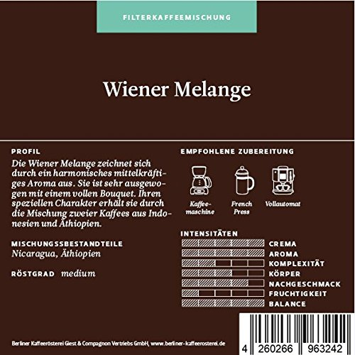BKR | Kaffee | Wiener Melange | Arabica | Mischung 1000g Bohne