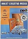 PPD A4 Inkjet Vinyl Aufkleberfolie Weiß Matt Selbstklebend - Speziell beschichtet für vollfarbige Drucke in Fotoqualität - Wasserfest, Reißfest und Strapazierfähig - A4 x 20 Blatt PPD-38-20