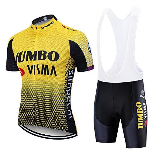 ADKE Completo Abbigliamento Ciclismo Uomo Estivo, Maglia Ciclismo Maniche Corte e Pantaloncini Bicicletta Corti con 3D Gel Imbottiti (M, H034)