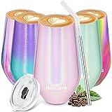 Newdora Termo Cafe 500ml, Tazas Café de Acero Inoxidable con una Pajita Reutilizable y dos Cepillos de Limpieza, taza termo cafe para llevar, Vaso termico, Oficina, Viaje (Rosa)