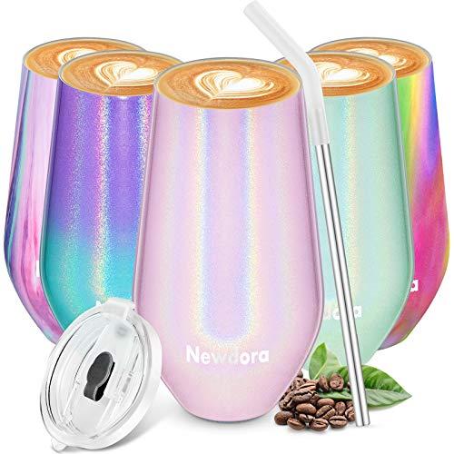 Newdora 500 ML/ 17 OZ Mug Isotherme,Thermos Cafe Isotherme avec Paille,Thermos Alimentaire en Acier Inoxydable du Lait,Jus de Fruits, Bière pour Cadeau de Femme(Rose)