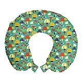 ABAKUHAUS Seta Cojín de Viaje para Soporte de Cuello, Erizo de Apple Arte Caracol, de Espuma con Memoria Respirable y Cómoda, 30x30 cm, Oscura Espuma de mar y Multicolor