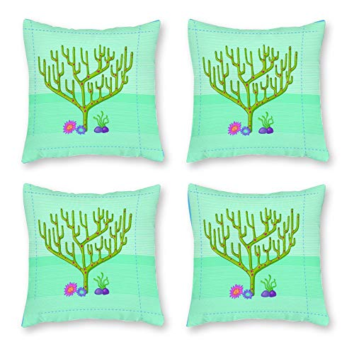 SUISSEWIN Cushion Cover Set 4 Canvas Throw Pillow Hanukkah Personality Coral Green Tree Sofa Throw Pillow Covers, Square Pillowcases